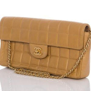 Chanel Flap East West Chocolate Bar Camel Lambskin